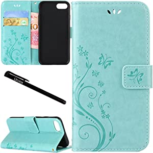 "for iPhone 6 Plus/iPhone 6S Plus Case, Urvoix Card Holder Stand Smooth Hand Feel PU Leather Wallet Case - Embossed Flower Butterfly Flip Cover for 5.5"" Version iPhone6 Plus/6S Plus (NOT for 6) Green"