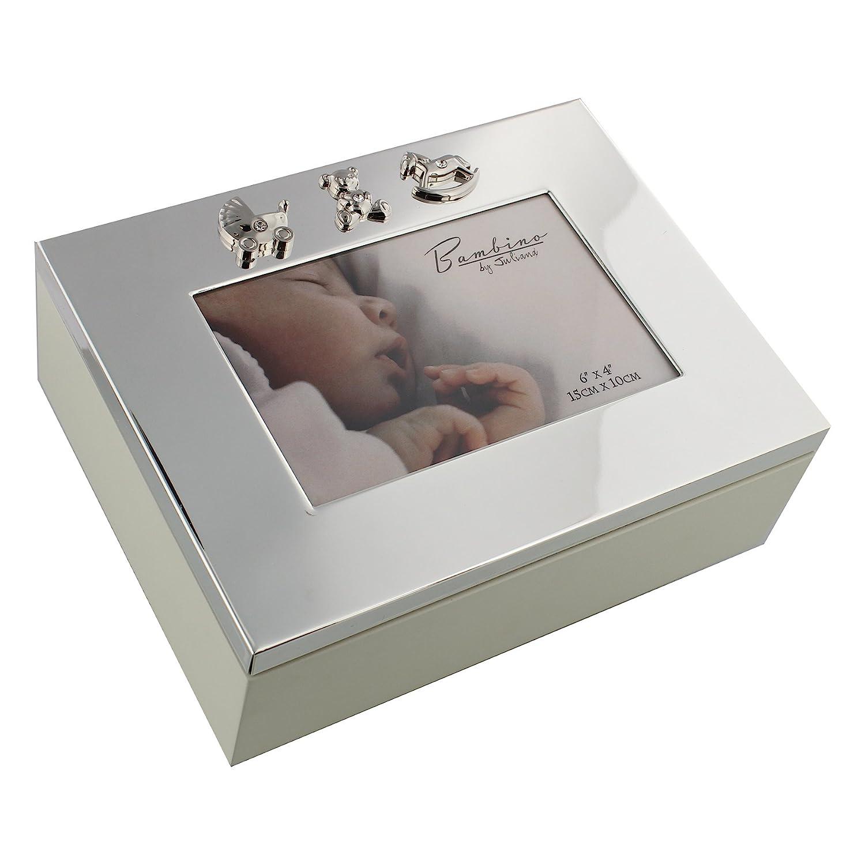 Silverplated Baby Keepsake Box with Icons Gift ukgiftstoreonline