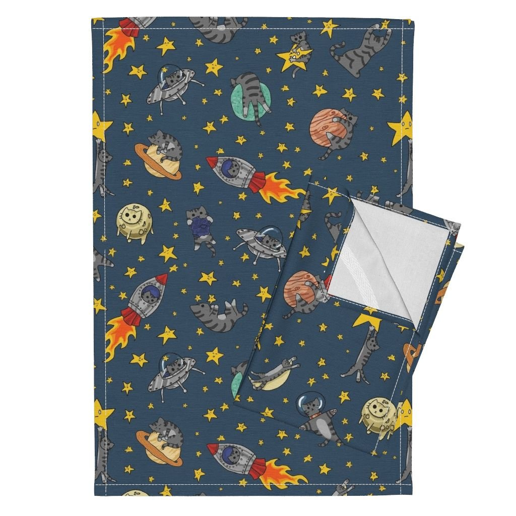 Space Cat Tea Towels Cats Outer Space Rocket Solar System Stars by Amber Morgan Set of 2 Linen Cotton Tea Towels by Roostery (Image #1)
