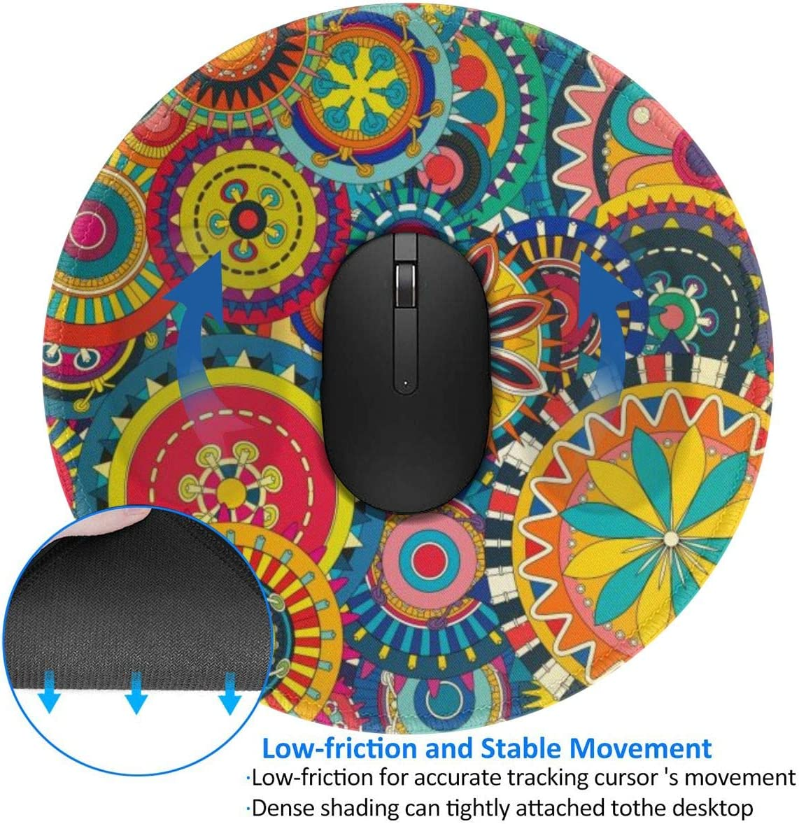 Boho Paisley Design Pattern Round Mouse Pad Desk Pad Non-Slip Rubber Mice Pads Stitched Edges Cute Round Mouse Pad for Office and Home