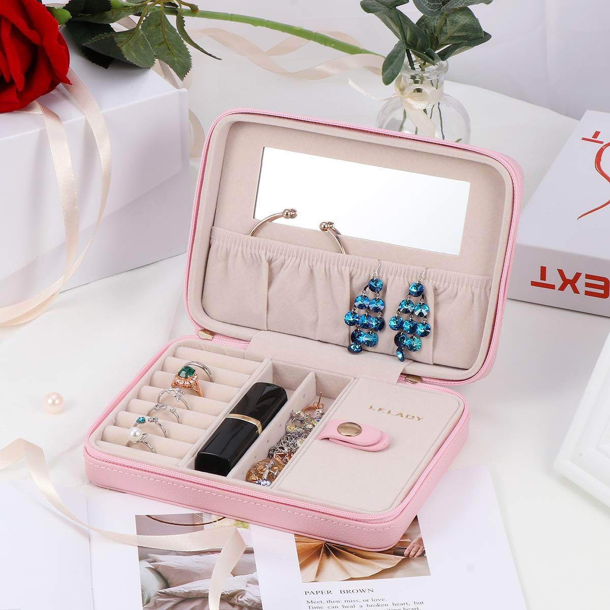 Black LELADY JEWELRY Jewellery Box Organiser Small Travel Jewellery Case Portable Faux Leather Jewellery Organiser Box Storage Holder with Large Mirror for Women Girls
