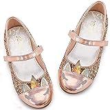 Furdeour Girls Dress Shoes Mary Jane Flower Wedding Party Bridesmaids Shoes Glitter Princess Ballet Flats for Kid Toddler