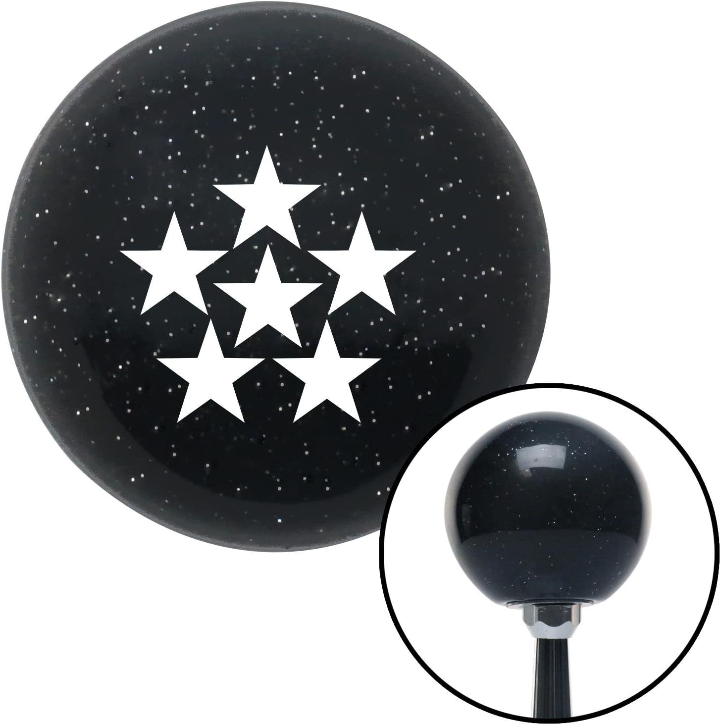 American Shifter 72644 Black Metal Flake Shift Knob with M16 x 1.5 Insert White 6 Star Formation