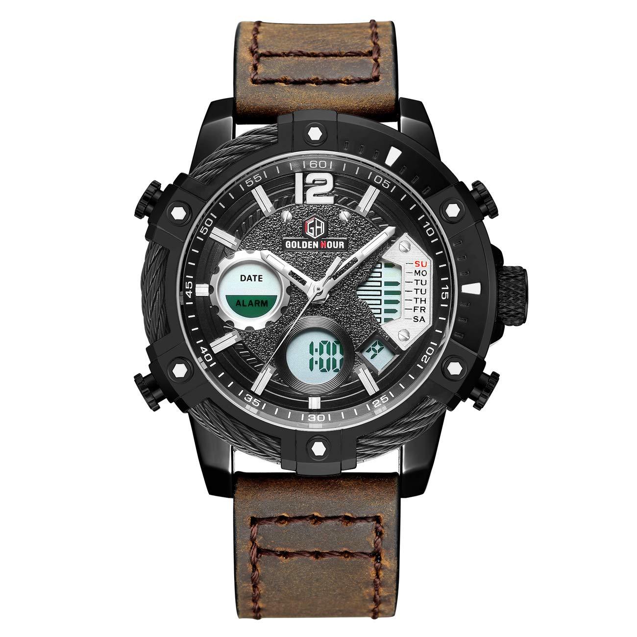 Relojes de Cuarzo Analš®gicos Digitales Deporte para Hombre para Hombres cronš®grafo Militar Reloj Impermeable (Deep Brown-120): Amazon.es: Relojes