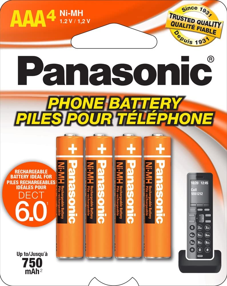 Panasonic Genuine HHR-4DPA/4B AAA NiMH Rechargeable Batteries for DECT Cordless Phones, 4 Pack: Electronics