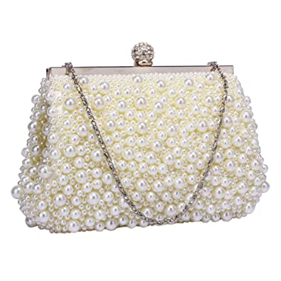 Pearl Beaded Vintage Style Clutch Evening Wedding Bag (Ivory ...