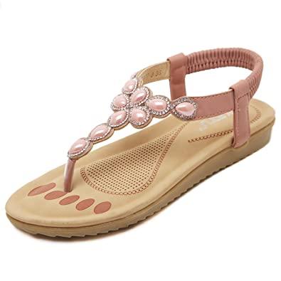 26fef69f1d0 DQQ Women s Pink T Strap Thong Sandal 5 UK  Amazon.co.uk  Shoes   Bags