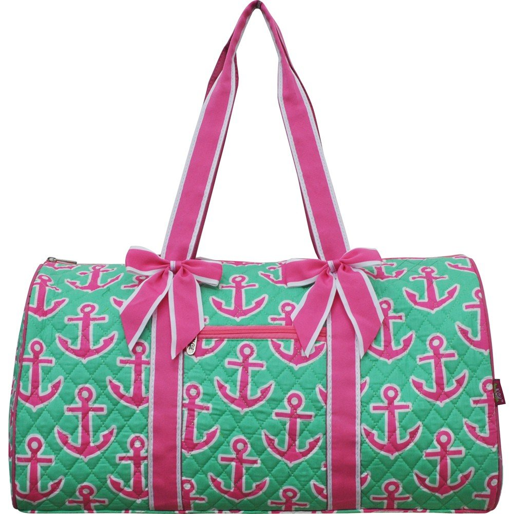 Mint Hotpink Anchor Print Gym Travel Dance Cheer Baby Duffle Bag