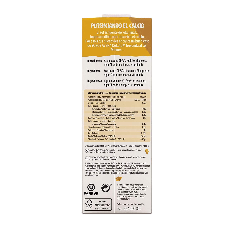 YOSOY Bebida de Avena con Calcio 1L [caja de 6 x 1L]: Amazon.es: Alimentación y bebidas