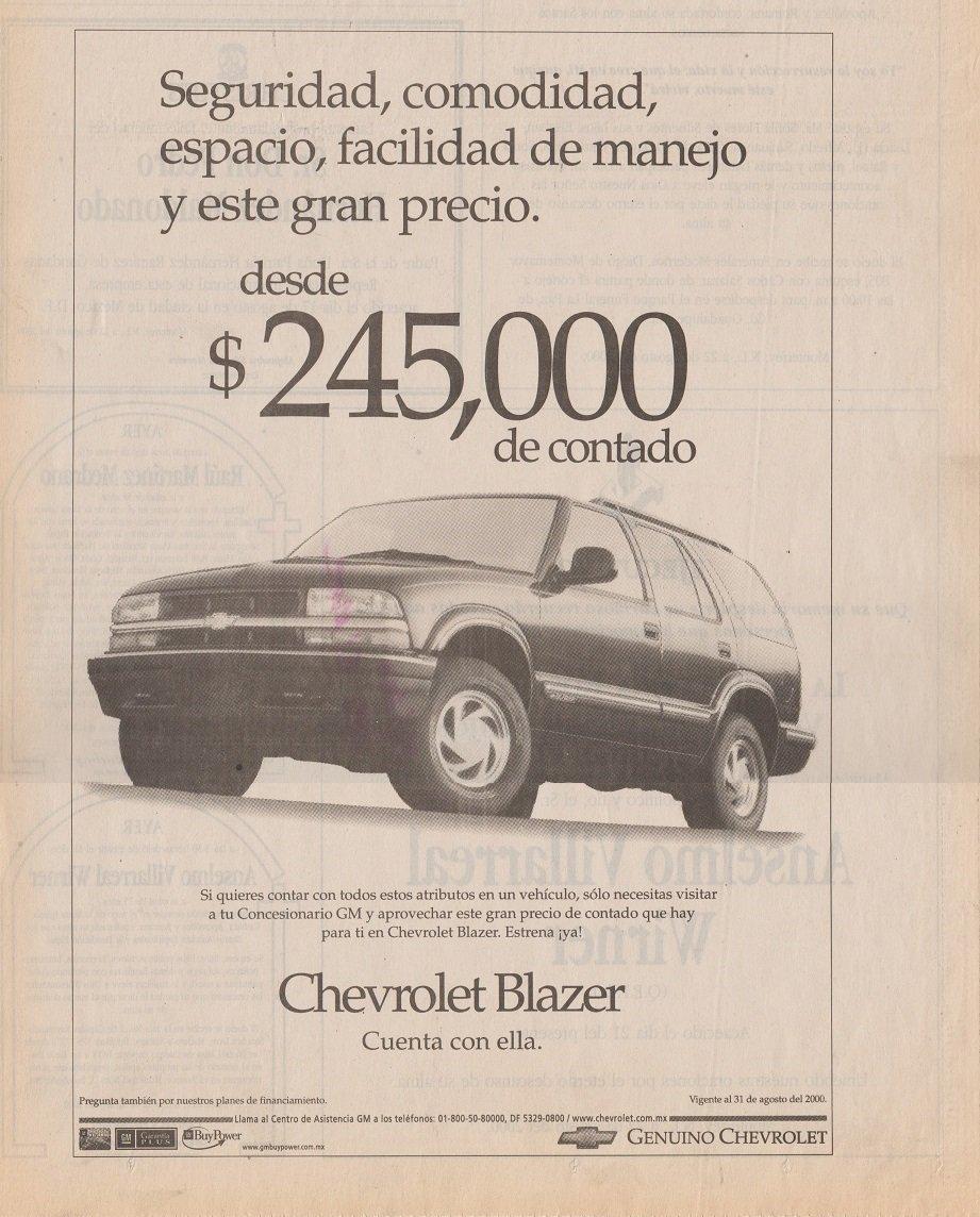 Amazon.com : 2000 CHEVROLET 1500 PICKUP, S-10 PICKUP & BLAZER LOT of 4 LARGE VINTAGE NEWSPAPER NON-COLOR AD ADS - MEXICO - NICE ORIGINALS!