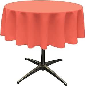 "LA Linen Polyester Poplin Round Tablecloth, 58"", Coral"