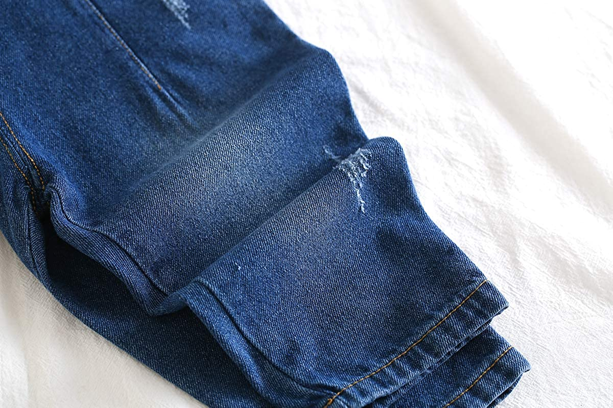 Kidscool Space Cute Baby Toddler Blue Black 5 Pockets Bibs Ripped Jeans Overall