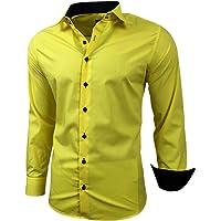 Baxboy - Camisa de manga larga para hombre, de corte ajustado, fácil de planchar, para trajes, trabajo, bodas, tiempo…