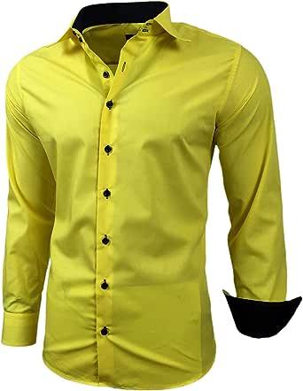 Baxboy - Camisa de manga larga para hombre, de corte ajustado, fácil de planchar, para trajes, trabajo, bodas, tiempo libre, R-44