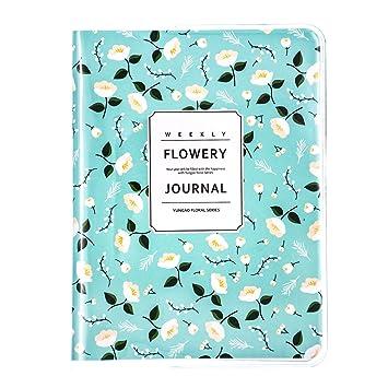 Agenda con Organizador Personal y Calendario Diario, Semanal Y Mensual, Planificador Semanal Patrón de Flora, 6 Meses, 10,3 x 14 cm (Flor Verde)