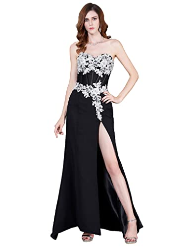 GRACE KARIN High Split Black Evening Dresses Long Prom Gown With Lace Appliques