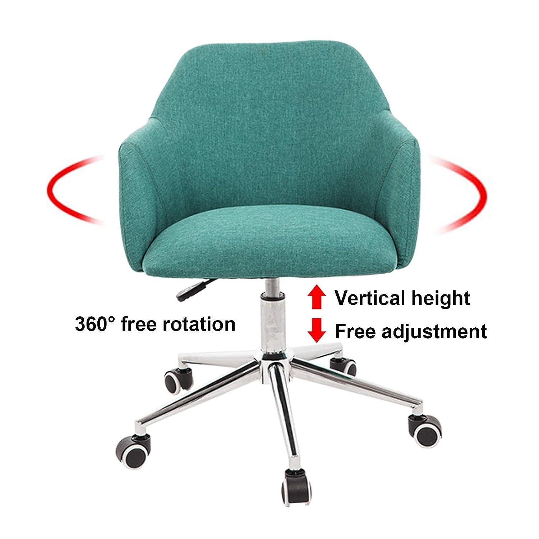 LIYIN Kontor datorstolar för hemmet, verkställande PC dator 360° svängbar stol höjd justerbar stol med 5 hjul, mellanrygg sminkstol gRÖN