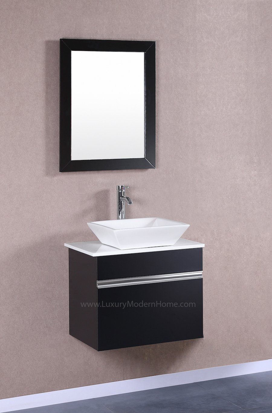MARCUS - 24'' Small BLACK Modular Wall Mount Vessel Hung Floating Modern Bathroom Vanity Sink