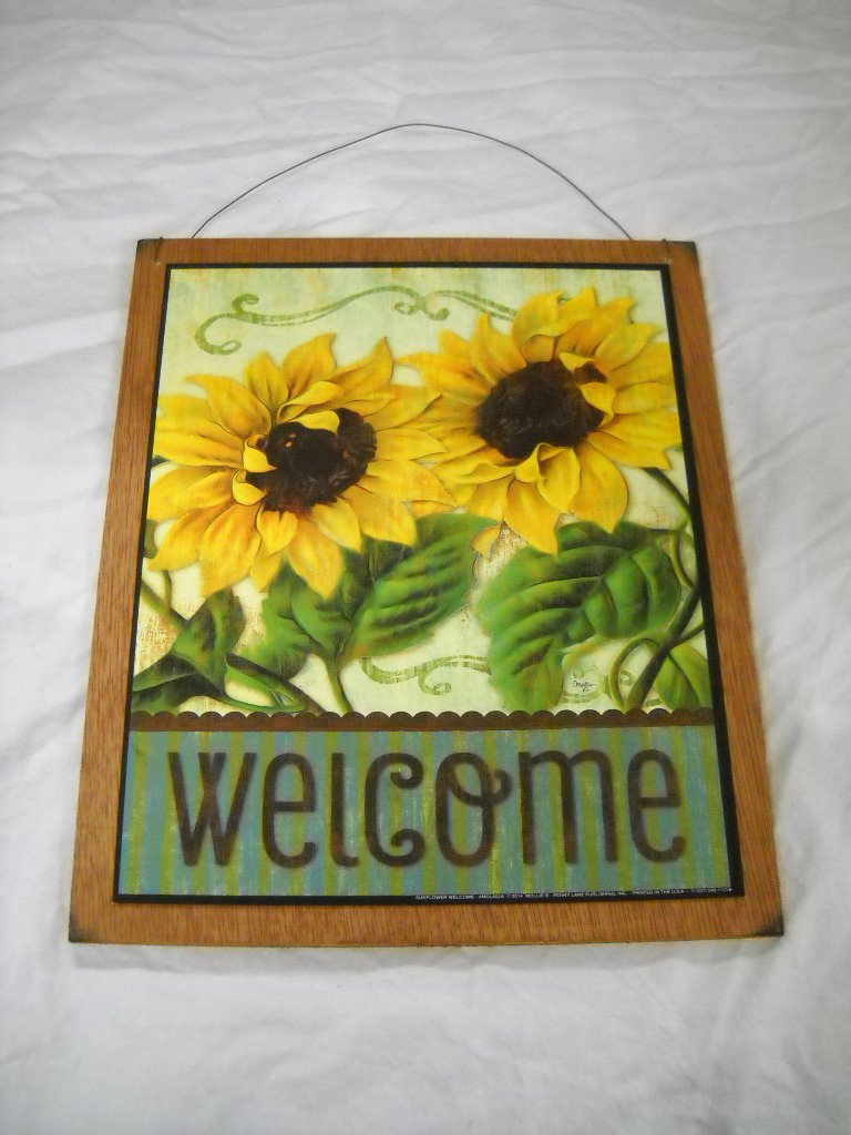 Amazon.com: Sunflower Welcome Country Wooden Wall Art Sign Flowers ...