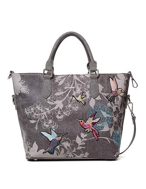 Desigual - Bag Wallpaper Florida Women, Carteras de mano con asa Mujer, Gris (