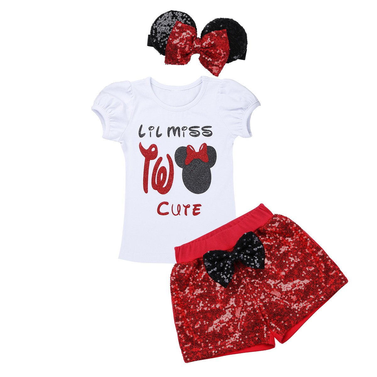 iiniim Baby Girls Shiny Sparkle Two Year 1st/2nd Birthday Outfit Short Sleeve Tops with Sequin Shorts Ear Bow Headband Set White & Red 12-18 Months