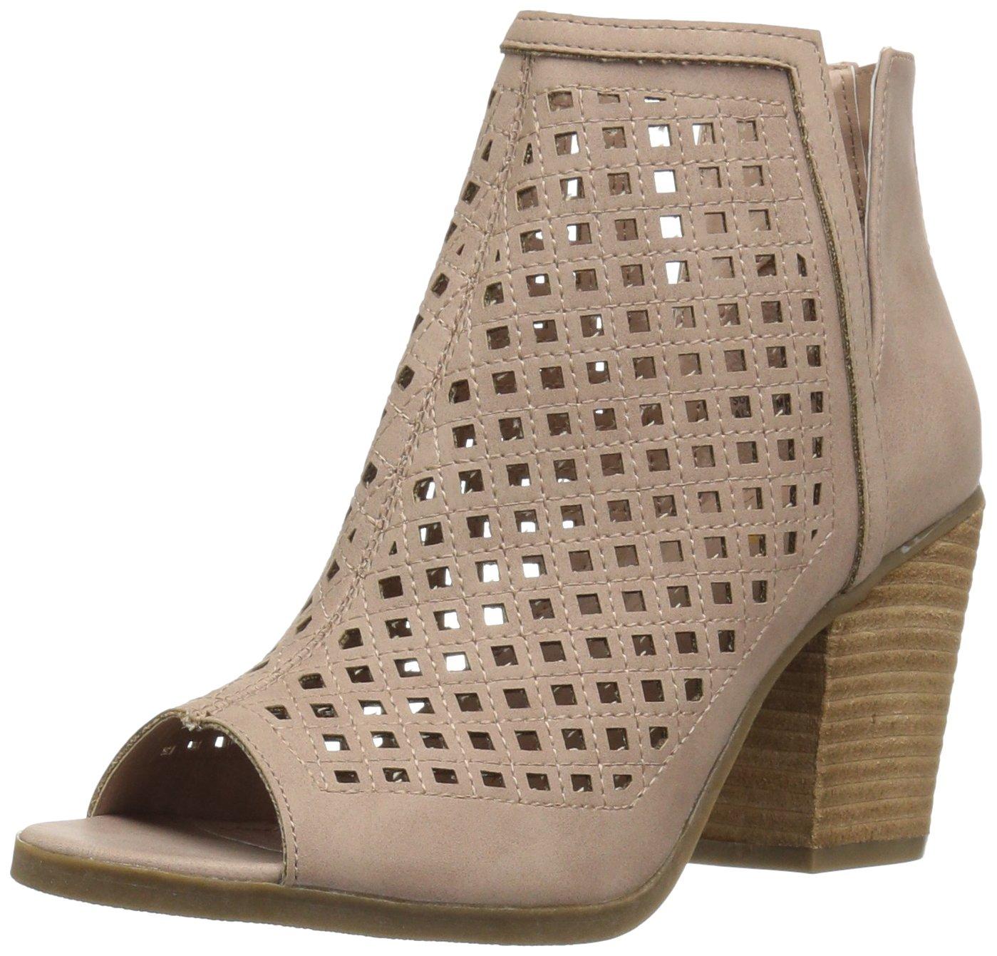 Sugar Women's Vael Perf Open Toe Stacked Block Heel Fashion Ankle Bootie B076BXGPFR 10 B(M) US|Blush
