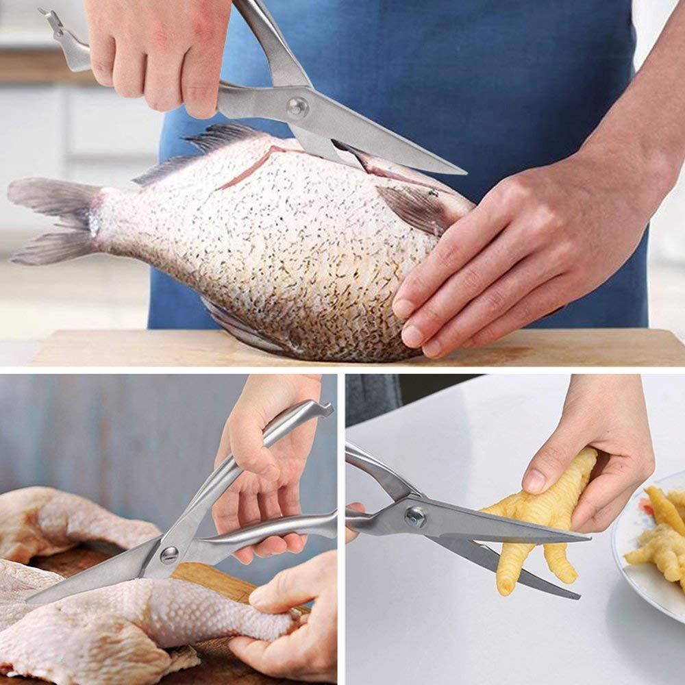Poultry Shears Stainless Steel Heavy Duty Kitchen Shears Multi-Purpose Utility Scissors with Safety Lock WARRAH WARRAH161229135