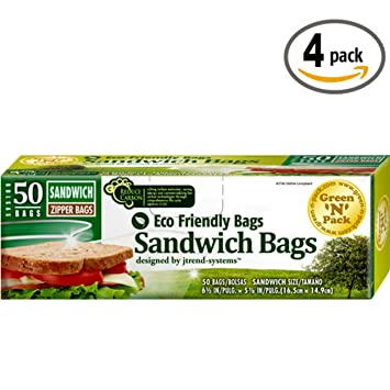 Amazon.com: Verde n paquete bolsa de cierre Sandwich ...