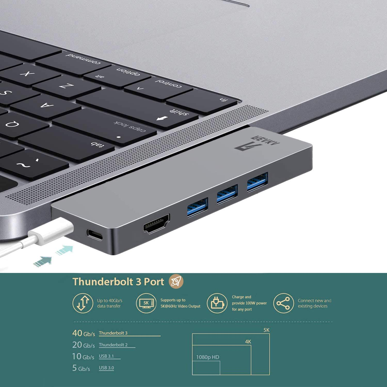SD//TF Card Reader,USB C Port RREAKA USB C Hub Adapter Dock for Apple MacBook Pro2019.2018,13//15//16inch,MacBook Air2018 Dongle,HDMI 4K,100W Power Delivery,40Gbps Thunderbolt 3 5K@60Hz,2 USB 3.0
