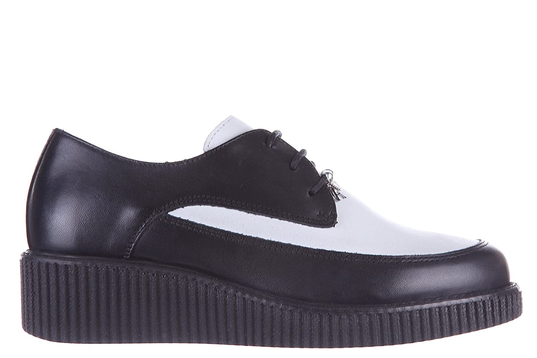 Armani Jeans women's classic leather lace-up shoes derby bicolor black