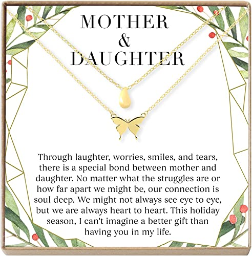 Mother /& Daughter Necklace Holiday Heartfelt Card /& Jewelry Gift for Birthday