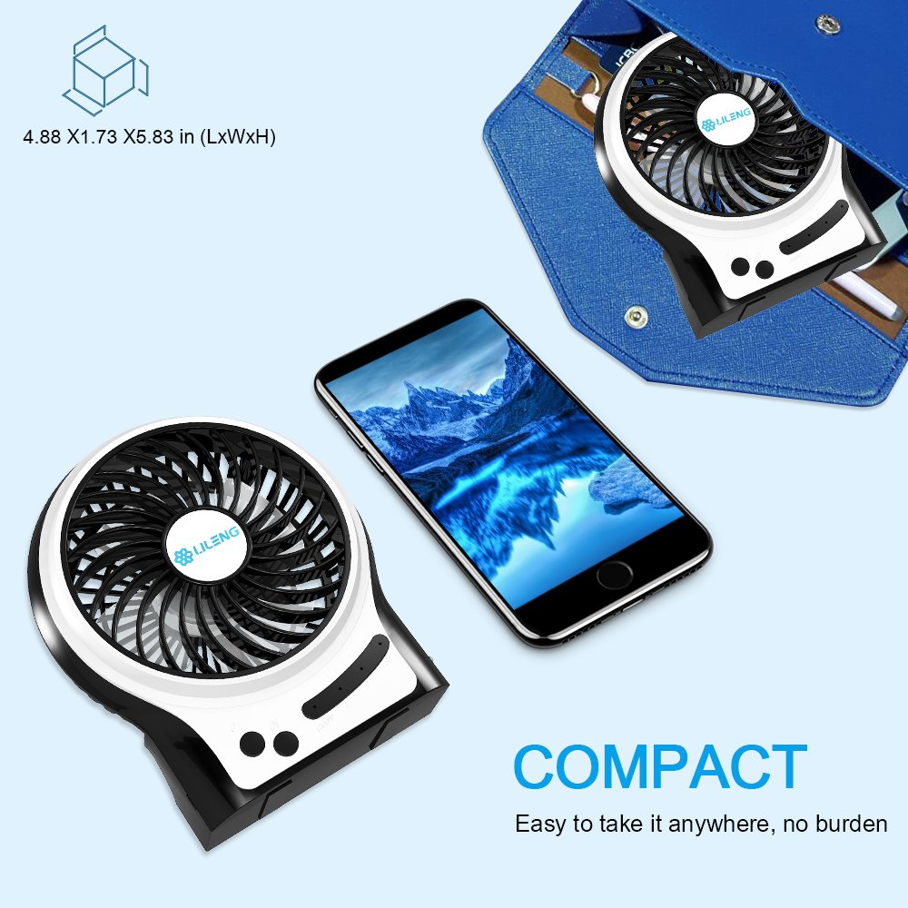 BENGOO Mini Desk Fan Portable Personal Cooling Fan USB Fan with Light Mode Powered by Rechargeable Battery for Office Traveling Household Use (Remove the Plastic film in the Battery Case before Use) by BENGOO (Image #5)