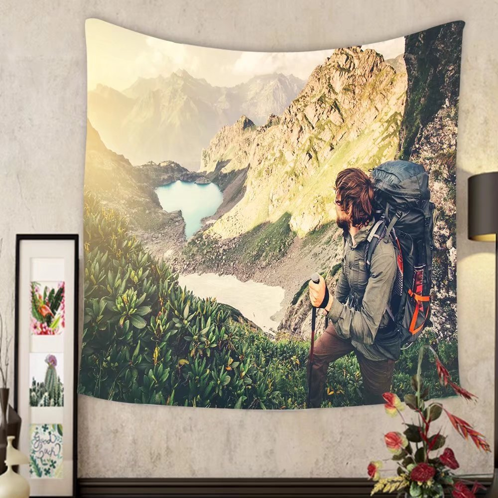 Evelyn C. Connor Custom?tapestry man traveler with backpack mountaineering travel lifestyle concept lake and mountains landscape on