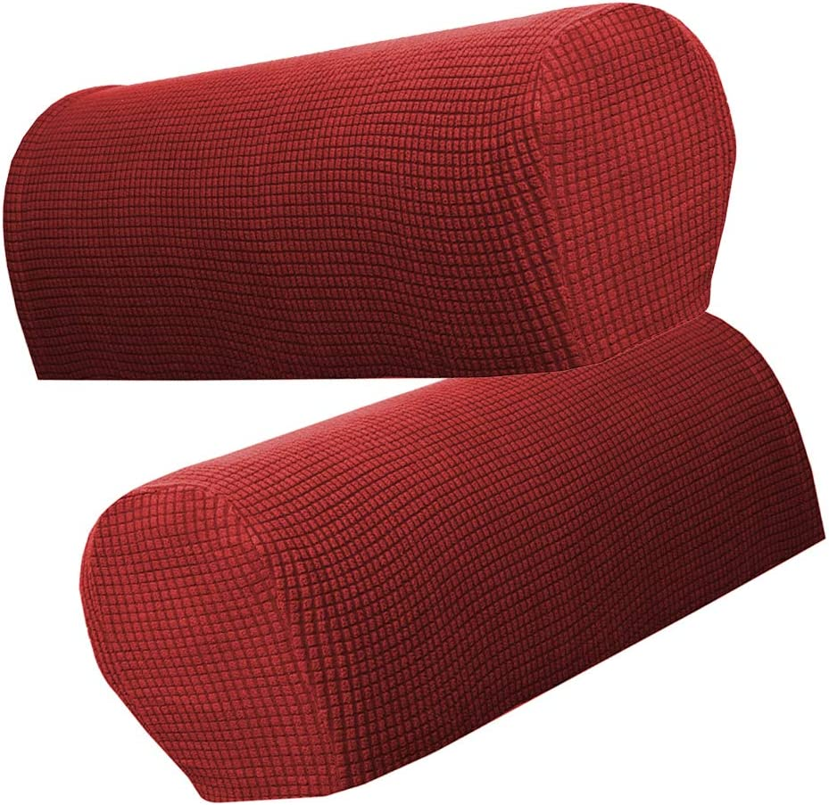 F Fityle Set Of 6 Sofa Armrest Cover Stretch Fabric For Couches Armchairs Recliners - Beige, as described Wine Red