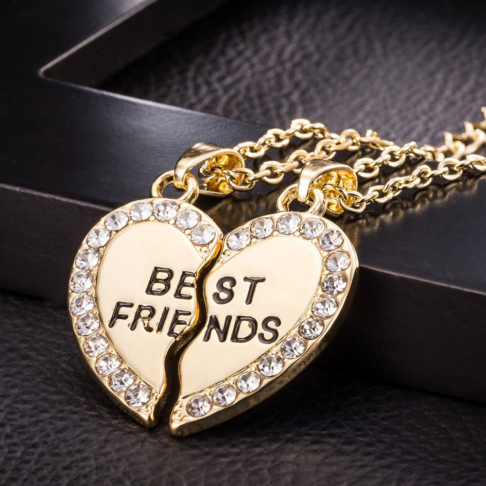 Mitiy Stainless Steel Mens Womens Couple Necklace Friendship Puzzle CZ Love Matching Heart Pendants