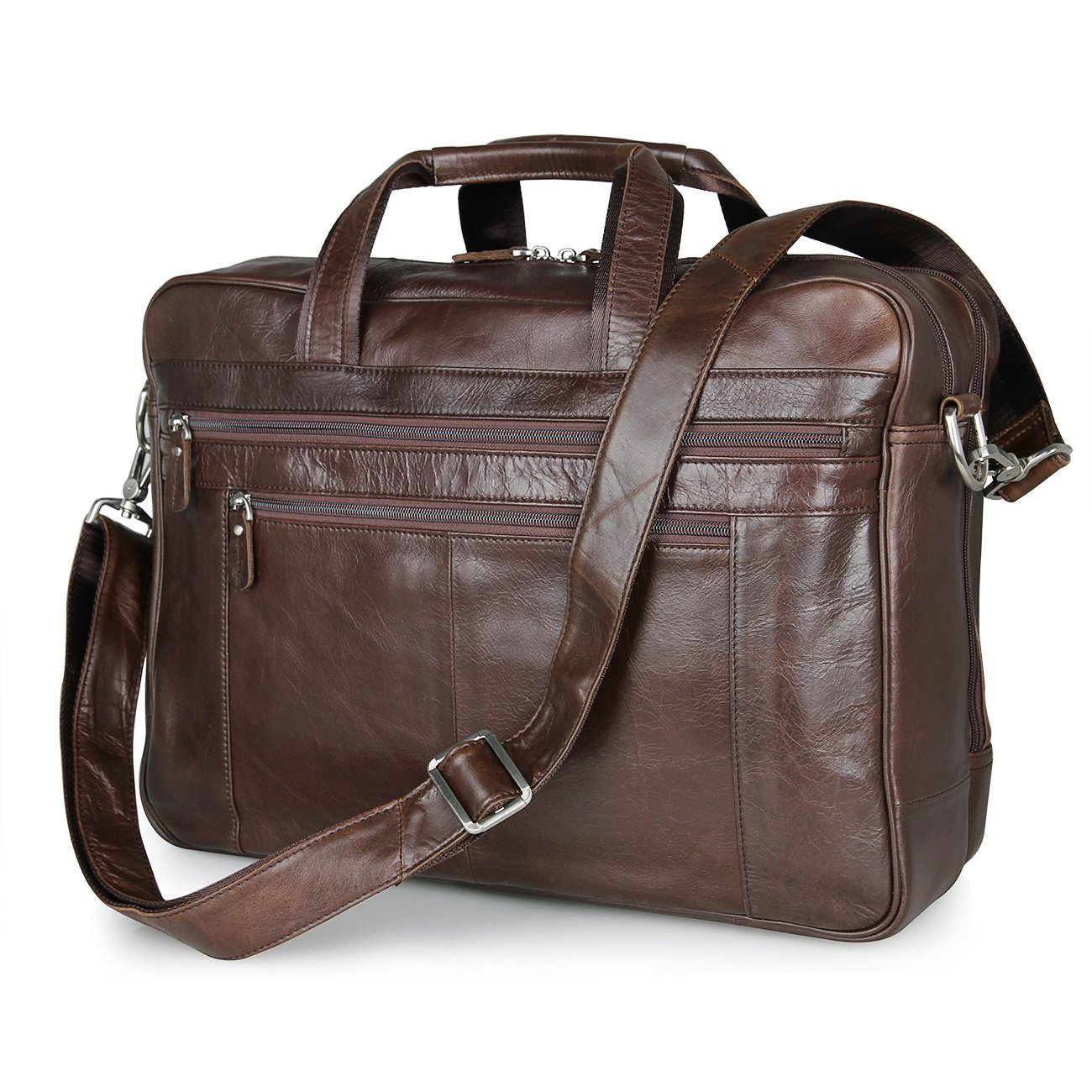 Real Soft Nappa Leather Office Briefcase 17 Laptop Professional File Brief Case Business Shoulder Messenger Bag For Men