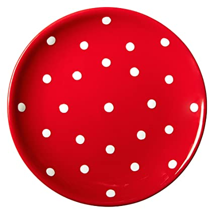 e4d9d8145f143 Amazon.com  City to Cottage Handmade Red and White Pottery Polka Dot Glazed  7.9inch 20cm Side Plate