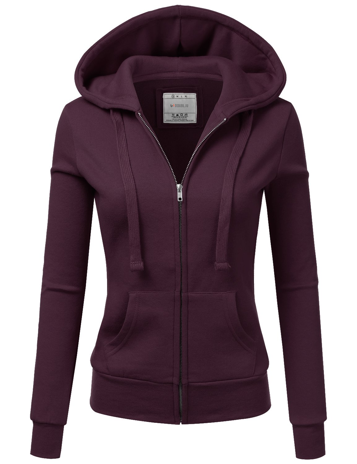 Doublju Lightweight Thin Zip-Up Hoodie Jacket for Women with Plus Size Plum Large