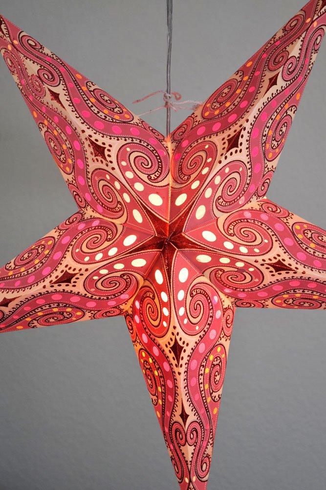 Quasimoon PaperLanternStore.com 24'' Vanilla Pink/Red Mouri Glitter Paper Star Lantern, Hanging Decoration