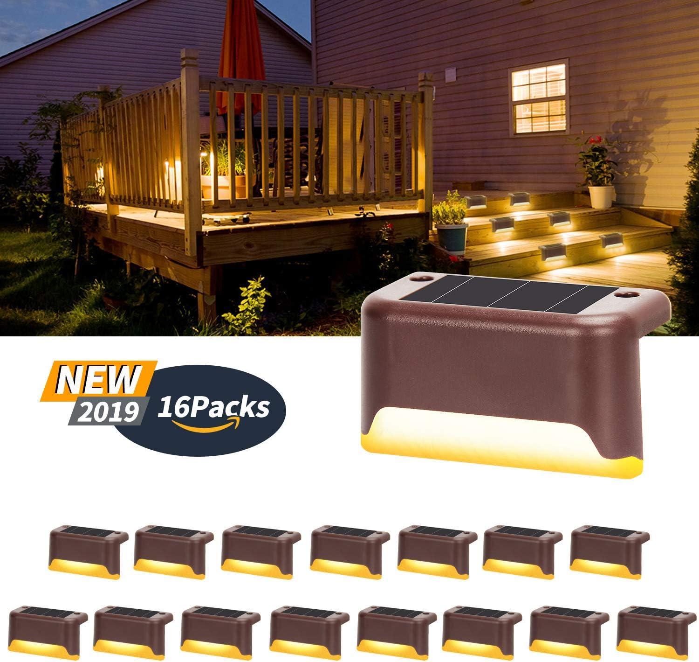 Solar Deck Lights Driveway Dock Lights Waterproof Outdoor Warning Step Lights 12