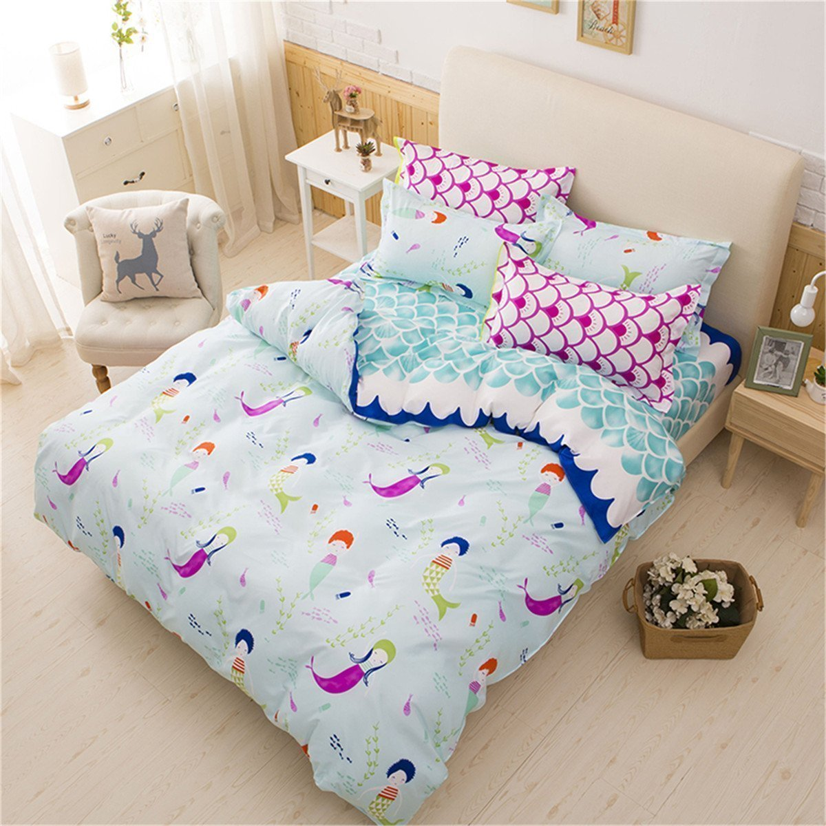 LemonTree Mermaid Bedding Set - Girls Soft Bedding Collection - Blue Wave Small Mermaid