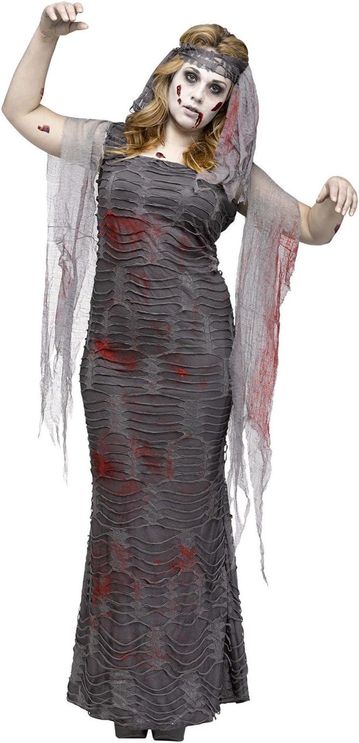Zombie momia Halloween para mujer Disfraz übergrössen gris: Amazon ...