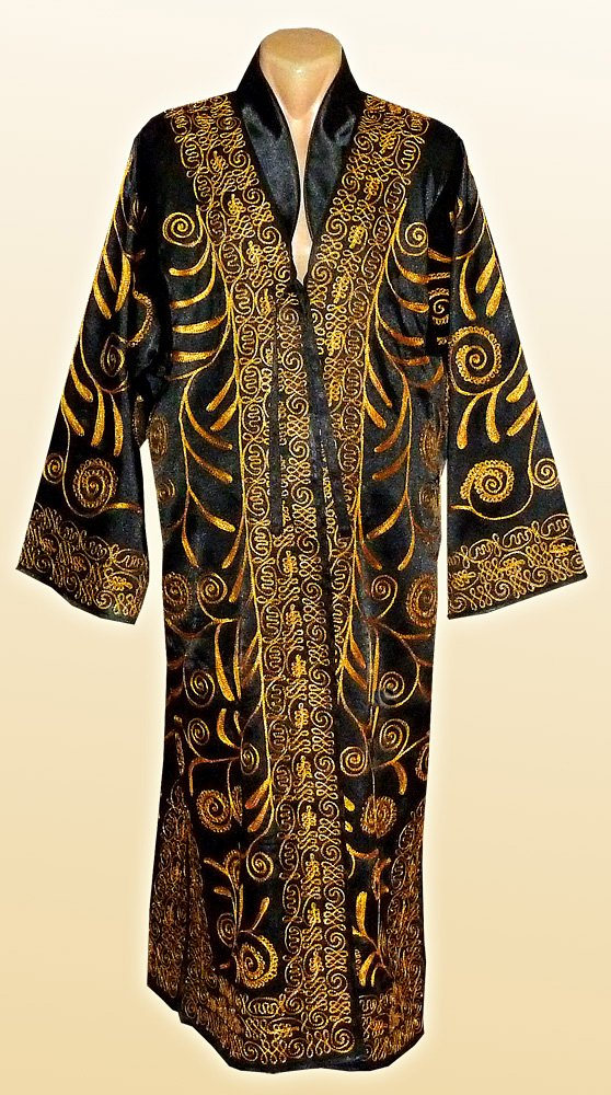 STUNNING UZBEK GOLD SILK EMBROIDERED UNISEX ROBE CHAPAN FROM BUKHARA A7457 by East treasures