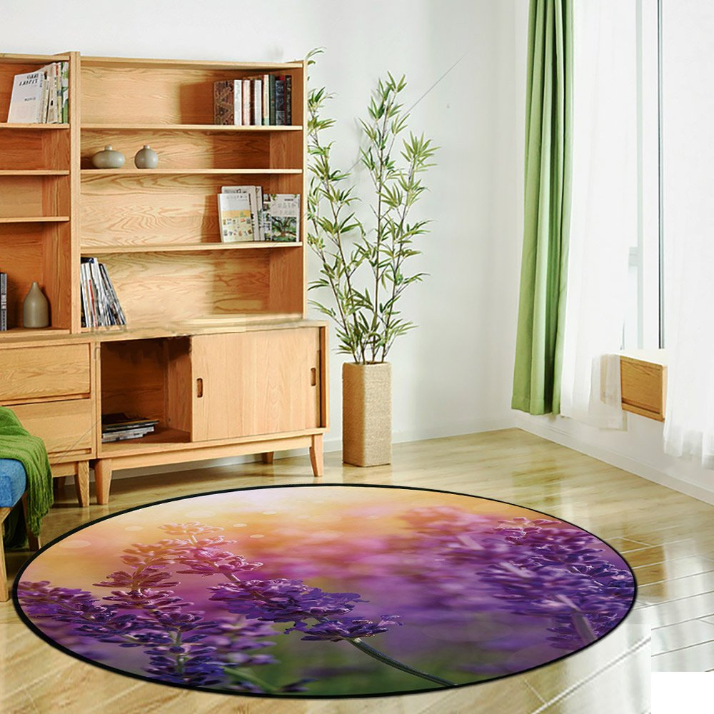 Printing Round Rug,Lavender,Detail of Scenic Gardening Plants Flourishing in Springtime Fresh Woods Mat Non-Slip Soft Entrance Mat Door Floor Rug Area Rug For Chair Living Room,Violet Apricot Green by iPrint (Image #2)