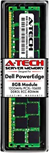 A-Tech 8GB RAM for Dell PowerEdge T410, T610, T710 Tower Servers | DDR3 1333MHz ECC-RDIMM PC3L-10600 2Rx4 1.35V 240-Pin ECC Registered DIMM Server Memory Upgrade Module