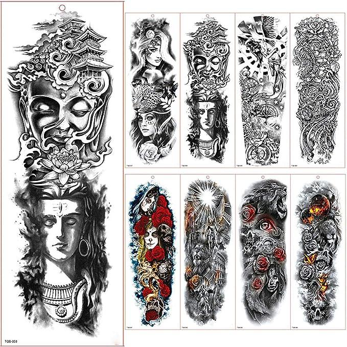 Tatuajes De Manga De Brazo Grande Tatuajes Temporales Impermeables ...