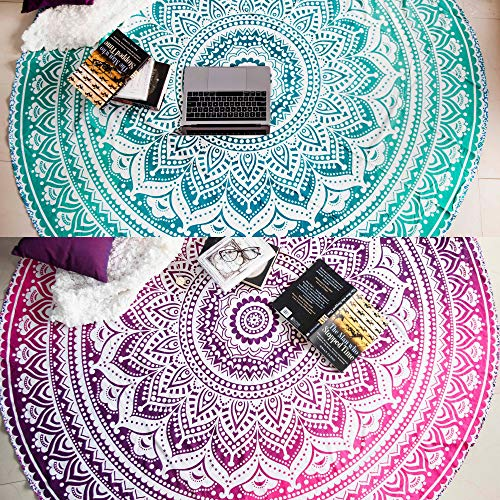 Mandala Tapestry Round Beach Towels or Beach Blanket, Set of 2 Hippie Boho Throw Blanket, Indian Circle Tablecloth or Meditation Rug, Bohemian Cotton Yoga Mat - 72 Inches, Green and Pink