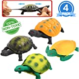 Turtle Toys,5 Inch Rubber Tortoise Turtle Sets(4 Pack),Great Safety Material TPR Super Stretchy,Can Hide in Shell,Zoo World S