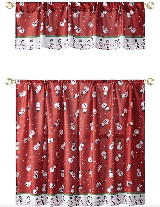 GoodGram Christmas Snowman Complete 3 Pc Holiday Semi Sheer Kitchen Curtain Tier /& Valance Set