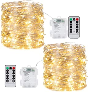 2 Pack 100LEDs Fairy Twinkle String Lights Battery Operated-33ft Silver Coated Copper Lights with Timer & 8 Mode Remote Control, Waterproof Christmas Lights for Trees Garland Holiday Decor, Warm White